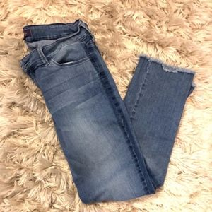 Denim Frayed Ankle Jeans